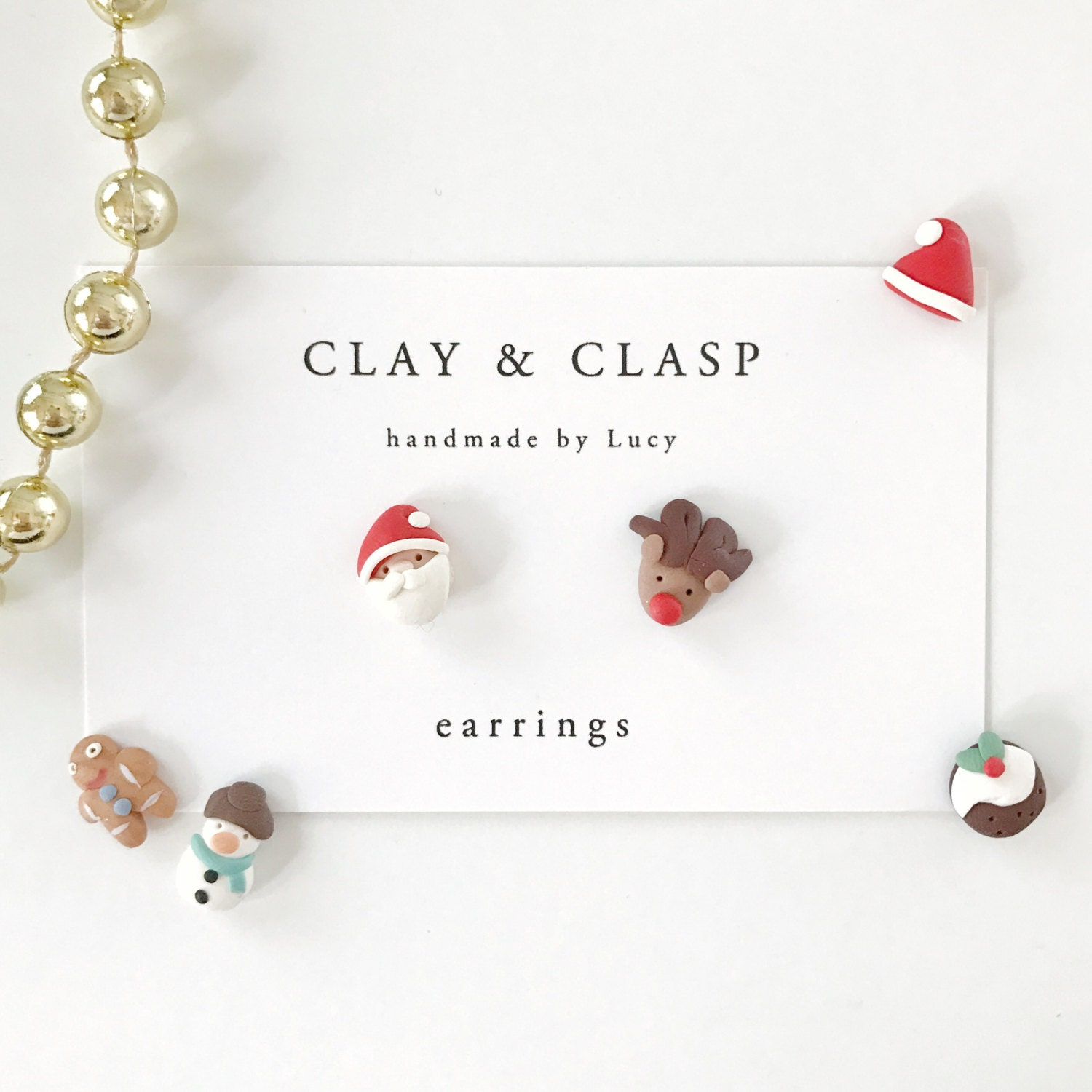 Christmas earrings - beautiful handmade polymer clay jewellery by Clay & Clasp