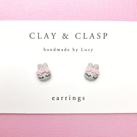 Flower crown bunny rabbit earrings