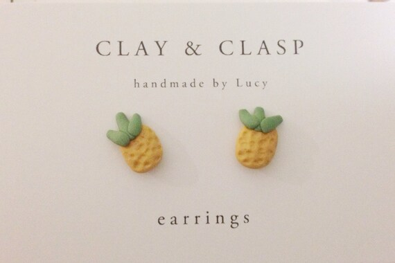 Pineapple Earrings - beautiful handmade polymer clay jewellery by Clay & Clasp