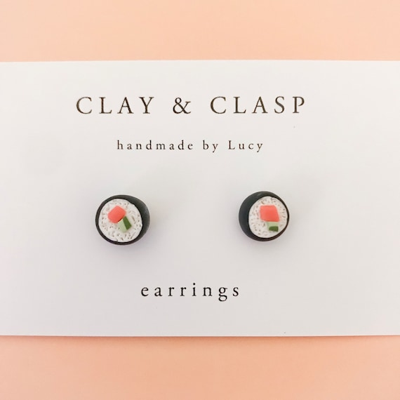 Sushi Earrings - beautiful handmade polymer clay jewellery by Clay & Clasp
