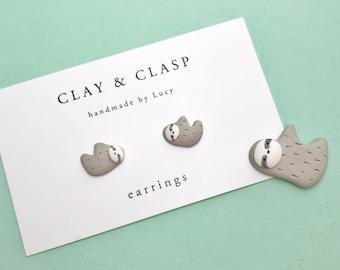 Sloth Earrings - beautiful handmade polymer clay jewellery by Clay & Clasp