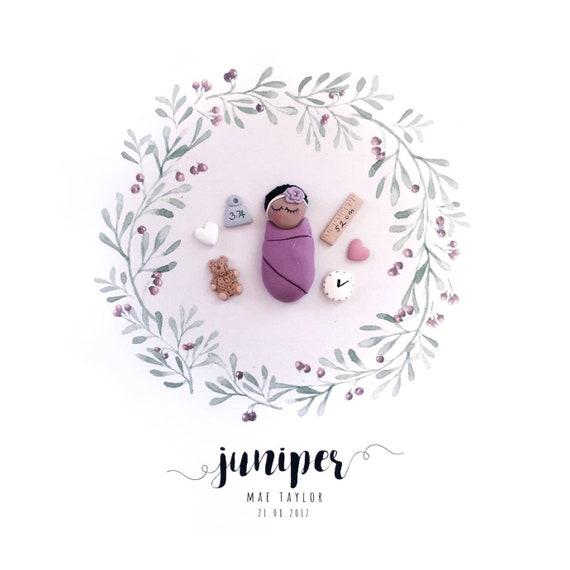 Custom birth keepsake baby name frame