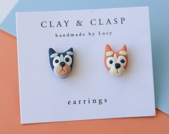 Blue and Red Heeler Earrings - beautiful handmade polymer clay jewellery by Clay & Clasp