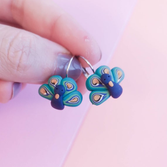 Peacock earrings - beautiful handmade polymer clay jewellery by Clay & Clasp
