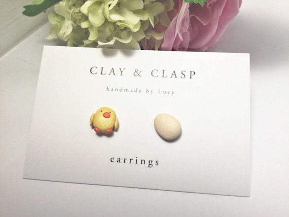 Easter earrings, chick and egg earring studs - beautiful handmade polymer clay jewellery by Clay & Clasp