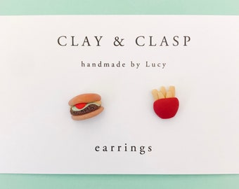 Burger and Chips Earrings - beautiful handmade polymer clay jewellery by Clay & Clasp