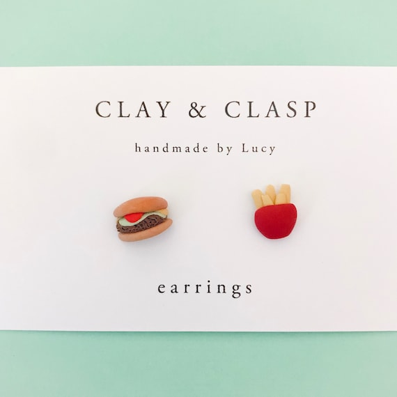 Burger and Chips Earrings