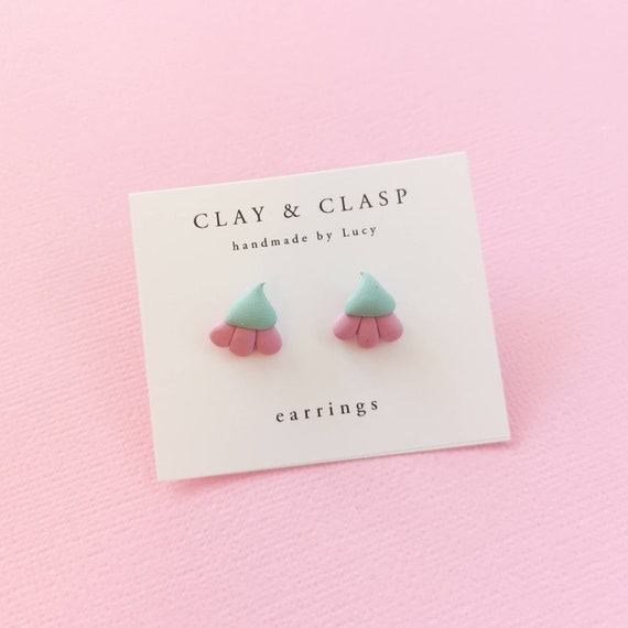 SALE - flower bud stud earrings