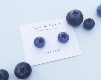 Blueberry Earrings - beautiful handmade polymer clay jewellery by Clay & Clasp