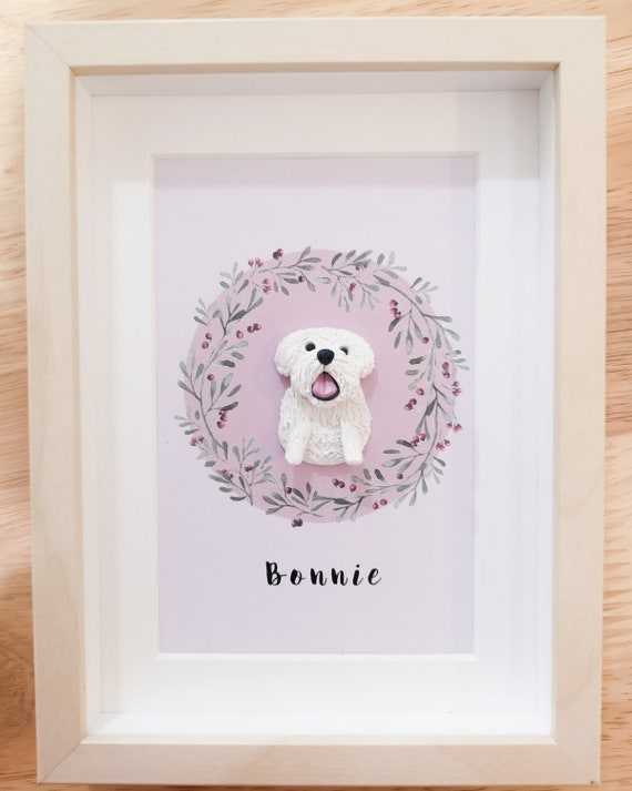 Custom framed Pet Portrait - handmade by Clay and Clasp