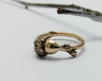 Bague bronze branche et gland de chêne, Bijou minimaliste, Bague botanique, Bronze, Noix de Chêne, Fait Main, Bijoux nature