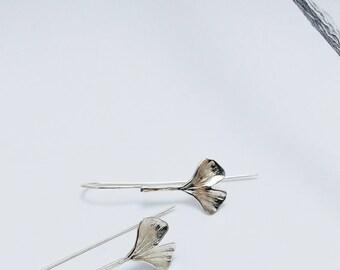 Boucles d'oreilles longues, Feuille de Ginkgo Biloba, Argent Sterling, Bijou Botanique, Woodland, Boucles d'oreilles pendantes, Nature