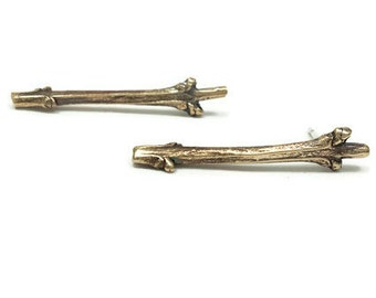 Boucles d'oreilles Branche Bronze, Brindilles de Lilas, Branches d'arbre, Studs Bronze, Bijoux Nature, Bijou Botanique, Woodland, Bijou doré