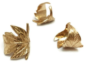 Bague feuille, Bronze, Feuillage, Bague dorée, Bijou feuille, Tomate, Nature, Forestier, Rustique