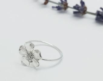 Silver Flower ring, Botanical jewelry, Woodland jewelry, Cherry flower, Nature Jewelry