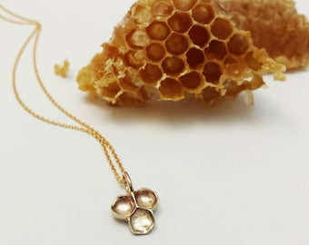 Collier Rayons de Miel bronze et Gold Filled 14k, Pendentif Rayons de Miel, Bijoux Ruche d'abeilles, Nid d'abeilles, Bijoux Nature