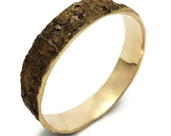 Bracelet Écorce d'arbre, Chêne, Bijou, Arbre, Bois, Tronc, Bronze, Métal, Rustique, Nature