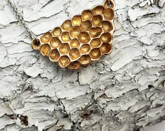 Collier Rayons de Miel, Nid d'abeilles, Rayons de Miel Bronze, Bijoux Bronze, Miel, Abeilles, Nature