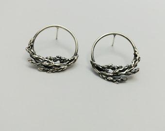 Boucles d'oreilles Branches de Genevrier en argent, Argent Sterling, Bijoux Nature, Cèdre, Studs Branches, Woodland
