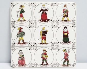 Vintage Ceramic Tile ceramic Trivet Belgium costume renaissance Musketeers fireplace kitchen tile country decoration Width 15.2 cm/6 in