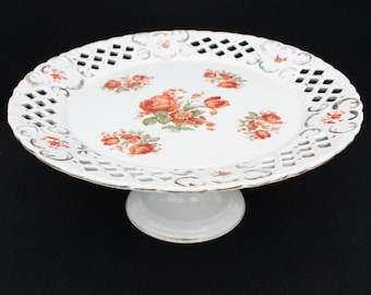 Fruit Bowl Cake Stand Compotier Blue White 19th century Vintage French SALINS Terre de fer Pattern CHEVREUSE Rustic Kitchen China France