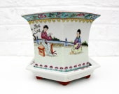 Vintage China Hexagonal landscape painted ceramic planter and tray, famille rose , Qianlong Mark, Chinese planter, Height 6 inch