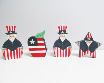 4 Vintage Wood art Americana Uncle Sam american flag Hand-Painted Hand-Made, Painted Wood Figures 4th of July apple red white blue