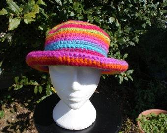 33d607b3192 Ladies multicoloured flat top roll brim hat