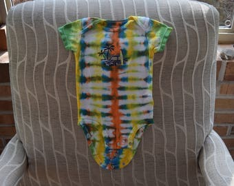 Tie Dye Carters Baby Onesie Size 6 Months Yellow Green White Blue Orange Surfboard