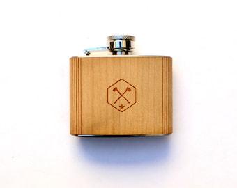 TIMBER Wood Skin 3oz. Mini Flask: Free US Shipping