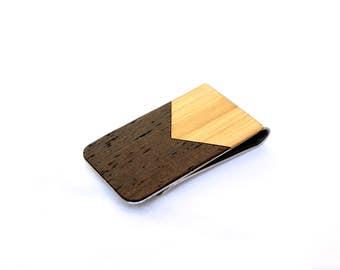 TIMBER Wood Skin Money Clip : Chevron Inlay Edition Free US Shipping