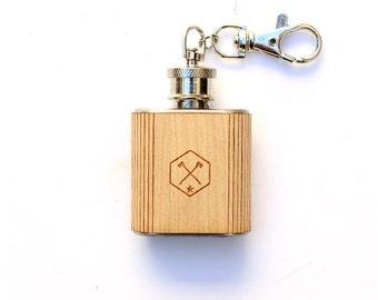 TIMBER Wood Skin 2oz. Keychain Mini Flask
