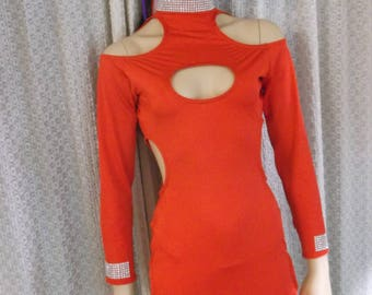Party dress made with four way spandex with matching bottoms