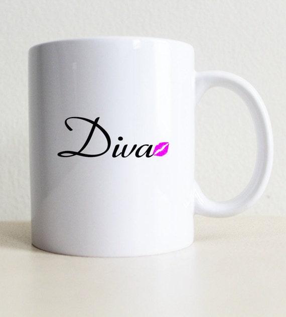 Diva Kiss Coffee Mug College Student Gift Girlfriend