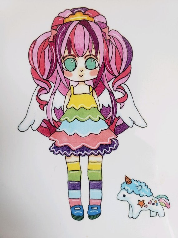 Rain Bow Bright Inspired Kawaii Inspired Unicorn Girl Girls Etsy