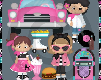 1950's Sock Hop Party Clip Art - Retro Poodle Skirt Jukebox Car  Milkshake Bar Sunglasses Clip Art, Commercial Use | Scrapbook images, Free clip  art, Clip art