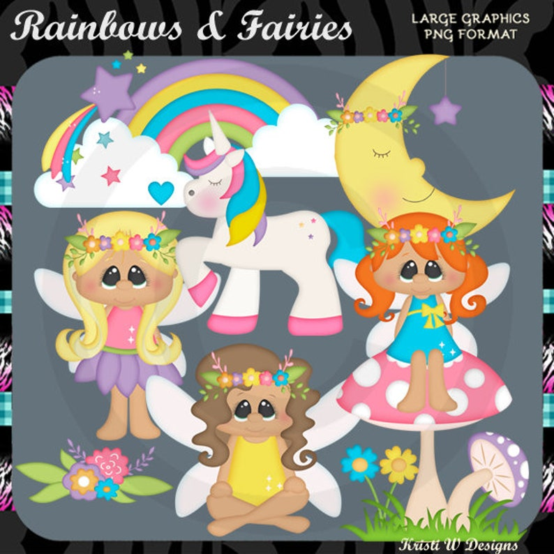 Rainbows /& Fairies Fairy Unicorn Fantasy Commercial Use Digital Clipart Elements Graphics Set Instant Download