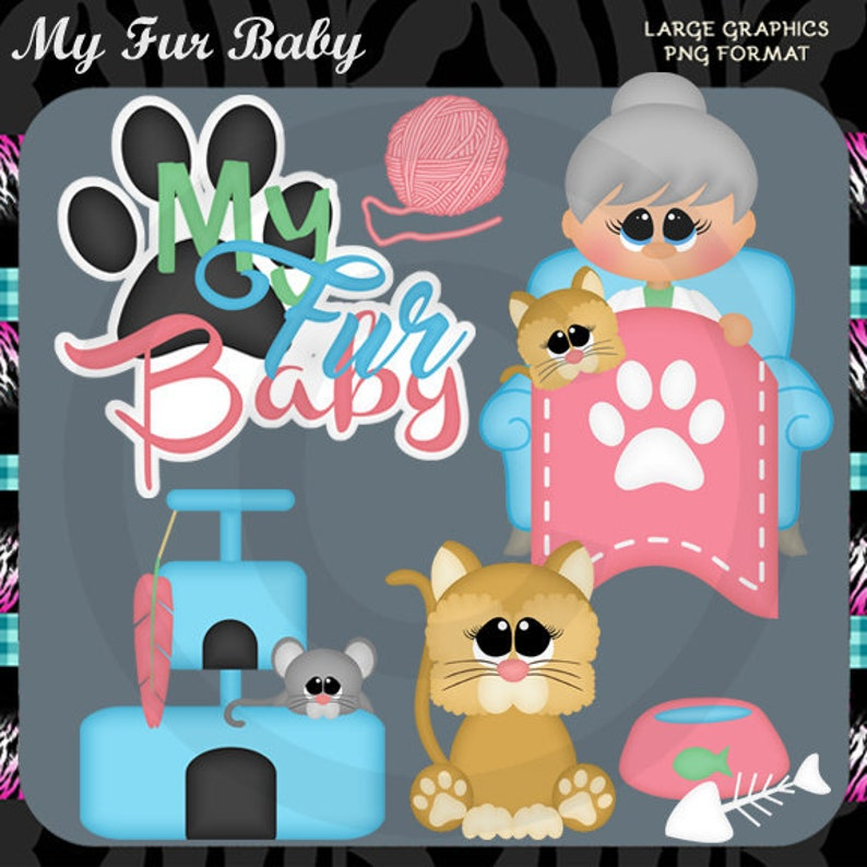 Cat Kitten Instant Download Commercial Use Digital Clipart Images Graphics Designs My Fur Baby