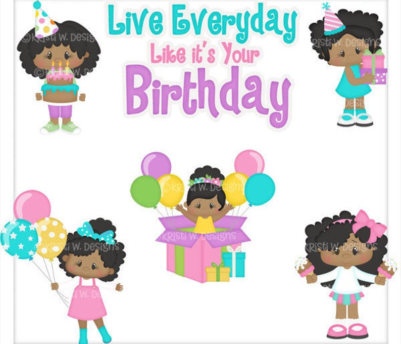 Instant Download Semi Exclusive Commercial Use Digital Clipart Images Graphics Designs African American Birthday Everyday Girls