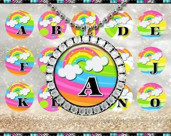 "Rainbow Alpha 2016 Abcs Alphabet - INSTANT DIGITAL DOWNLOAD - 1"" Bottlecap Craft Images (4x6) Digital Collage Sheet"