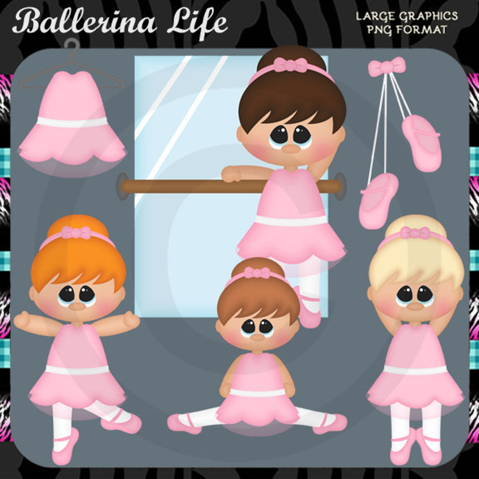 ballerina life 2018 ballet dance - instant download - commercial use digital clipart elements graphics set
