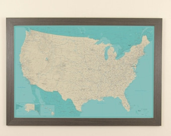 personalized teal dream united states push pin travel map us etsy