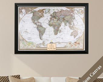 CANVAS Personalized Executive World Travel Map -Push Pin Travel Map - Canvas Map of the World -Track Your Travels With This Detailed Pin Map