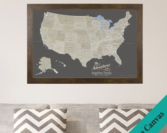 CANVAS Personalized Earth Toned USA Travel Map - Push Pin Travel Map - Canvas United States Map - 2nd Anniversary Gift - Cotton Gift Idea