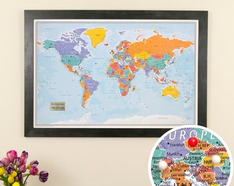 Personalized Blue Oceans World Travel Map with Pins and Frame - Push Pin Travel Map - 1st Anniversary Gift Idea - Wedding Guest Book