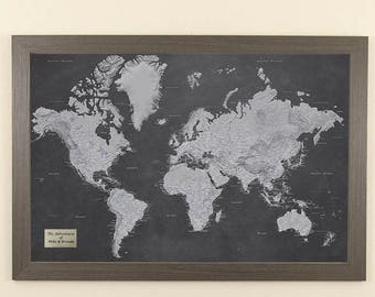 Personalized blue oceans world travel map with pins and frame personalized stormy dreams world travel map with pins and frame push pin travel map world pin map great gift idea home decor 24x36 gumiabroncs Choice Image
