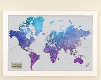 Personalized Vibrant Violet Watercolor World Travel Map - Push Pin Travel Map - 1st anniversary gift - Paper Anniversary - Pin Your Travels