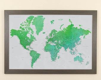 "Enchanting Emerald Watercolor World Push Pin Travel Map with Pins and  Frame - 24"" x 36""- Push Pin Travel Map"