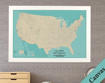 CANVAS Personalized Teal Dream USA Travel Map  - Push Pin Travel Map - Canvas US Map - Map on Canvas - United States Canvas Map
