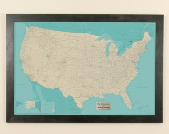 Personalized Teal Dream United States Push Pin Travel Map - US Travel Map - Map With Pins - Gifts for Her - Travelers Map - Travel Gifts